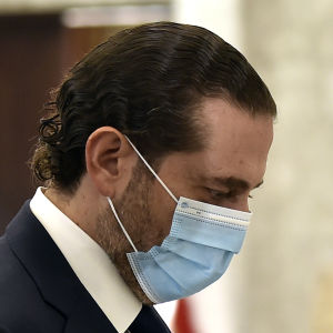 Saad Hariri på väg till ett möte med president Michel Aoun i Beirut den 22 oktober 2020.