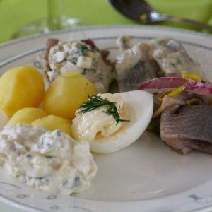 En tallrik med fiskinlägg, potatis, ett halvt kokt ägg och en vitaktig salladsröra av något slag.