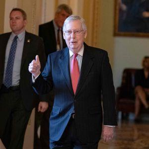 Republikanernas gruppledare i den amerikanska senaten Mitch McConell 25.3.2020