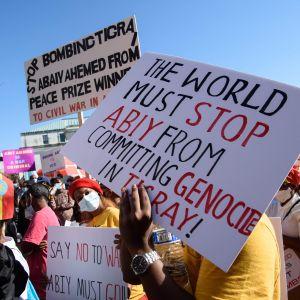 """Demonstranter utanför USA:s utrikesministerium i Washington vädjade i måndags om att premiärminister Abiys """"folkmord"""" i Tigray ska stoppas."""