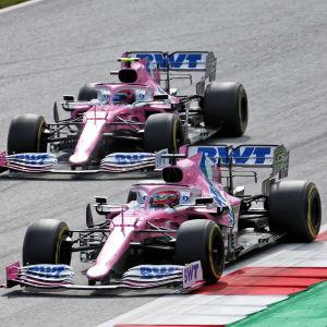 Sergio Perez och Lance Stroll kör efter varandra.