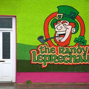 Fasad över ett Bed and breakfast på irland med grön vägg och tecknad Leprechaun och stor text The randy leprechaun.