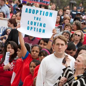 Abortmotståndare demonstrerar i Austin, Texas, USA.