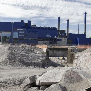 Yleiskuva Vantaan Energian jätevoimalan laajennuksen työmaalta 27.5.2020
