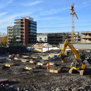 Byggarbetsplats i Olympiakvarteret i Vasa.