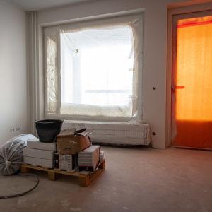Rakenteilla oleva asunto Pohjola-talossa Helsingin Niemenmäessä.