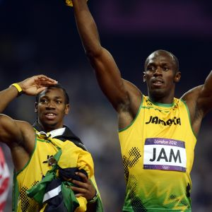 Usain Bolt och Yohan Blake firar OS-guld efter världsrekordlopp