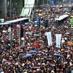 Demonstranter tågar mot regeringskvarteret på lördagen. Många har följt arrangörernas uppmaning om att klä sig i svart.