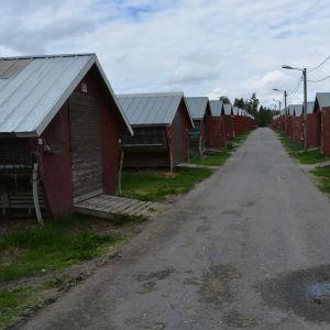 Ett flertal röda stugor med svarta dörrar står i två rader med en spång mellan sig på en pälsfarm.