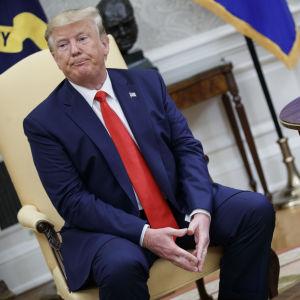 Donald Trump under en presskonferens i Vita huset på onsdagen.