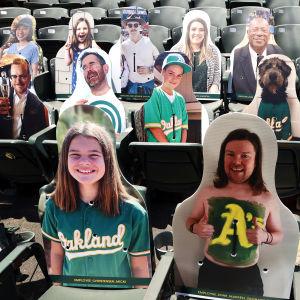 Baseballklubben Oakland Athletics har fyllt läktaren på sin hemmaarena i Oakland, Kalifornien med foton på sina anhängare. De tränar utan publik nu inför säsongsöppningen. Bilden är tagen på torsdagen 16.7.