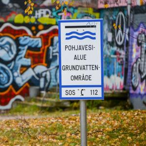 Skylt för grundvatten.