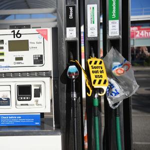 Bild på en stängd bensinpump.