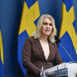 Ruotsin sosiaaliministeri Lena Hallengren puhui tiedotustilaisuudessa marraskuussa 2020.