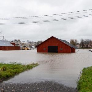 Översvämmat rött hus.