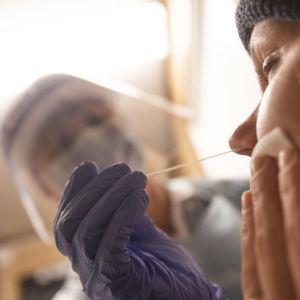En skötare tar ett coronatest.