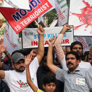 Kashmirbor protesterar mot hävd autonomi