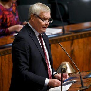 Antti Rinne under riksdagens plenum 9 oktober 2019.