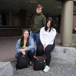 Sysmäläiset nuoret istuvat kunnanviraston edessä