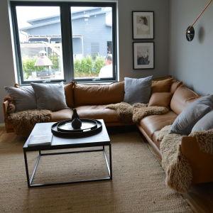 ett vardagsrum i bruna färger med en brun lädersoffa.