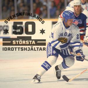 Christian Ruuttu, med logon för Svenskfinlands 50 största idrottshjältar.