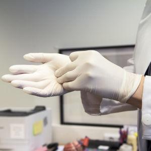 Närbild på händer. En läkare drar på sig handskar.