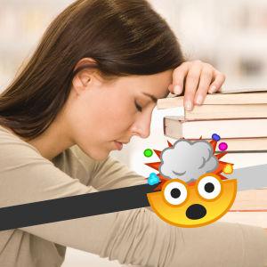 En kvinna lutar sin panna mot en trave böcker. I förgrunden en mätare med en emoji med exploderande huvud.