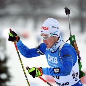 Tero Seppälä hade bra fart på sina skidor under distansloppet i VM i skidskytte i Östersund.
