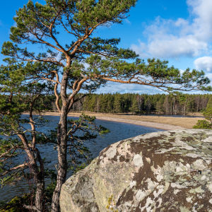 Näkymä Hangon Högholmenilta hiekkakannakselle eli tombololle.