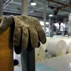 Handskar på en metallställning, stora pappersrullar i bakgrunden.