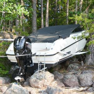 En båt uppe på land fastklämd mellan träd i ett skogigt landskap.