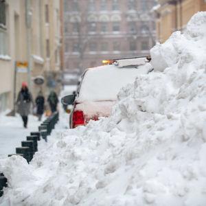Lumimyräkkä Helsingissä.13.1.2021.