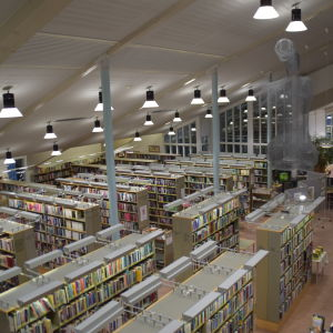 Ett bibliotek med många bokhyllor och böcker fotograferat uppifrån.
