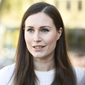 Porträtt på Sanna Marin.