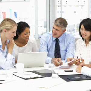 Arbetare på ett möte