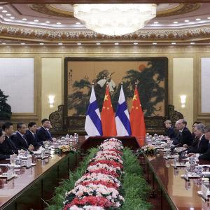 Kiinan presidentti Xi Jinping puhuu Suomen presidentti Sauli Niinistolle heidän tapaamisensa aikana Kiinan kansantasavallan suuressa salissa Pekingissä, tammikuussa 2019.