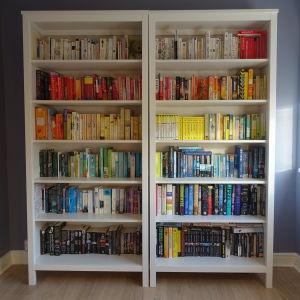 En bokhylla med böcker i färgordning.