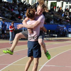 Gymnasiet Grankulla samskola vann 4 x 100 m, Stafettkarnevalen 2018.