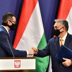Morawiecki ja Orban tervehtivät nyrkissä olevin käsin.