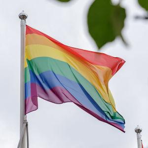 Pride-lippu liehuu.