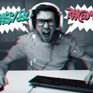 Man sitter vid en dator och är arg, grafiska symboler i talbubblor visar att han säger osakligheter.