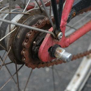 Närbild på cykelhjul och ekrar.