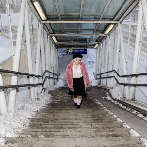 Vilma Nissinen kuvattiin Leppävaaran asemalla Espoossa 18. helmikuuta.