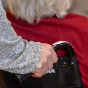 Äldre person skuffas i rullstol