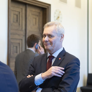 Antti Rinne SDP:n puoluevaltuuston kokouksessa