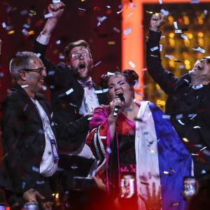 Netta Barzilai efter Eurovisionsvinsten.