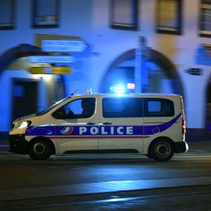 Polisbil i Strasbourg 11 december 2018.