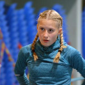 Nathalie Blomqvist på en träning i Botniahallen i Korsholm.