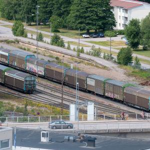 Godståg i Hangö västra hamn