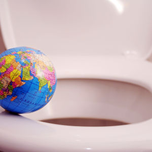 En jordglobb håller på att spolas ner i en WC.